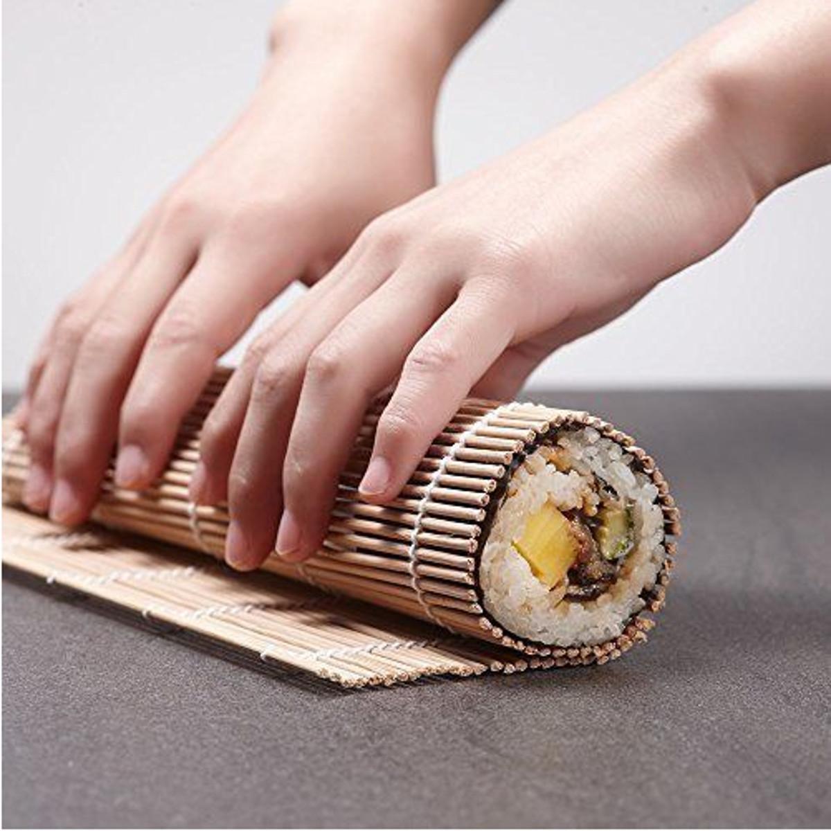 7 pcs Rolling Mats Chopsticks Rice Spreader Paddle Bamboo Sushi Making Kit BBQ Mat