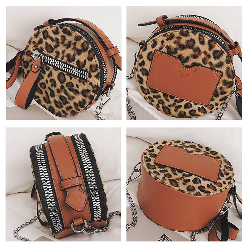 Women Double Zipper Layers Plush Leopard Round Shoulder Bag