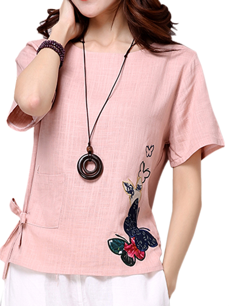 Casual Women Short Sleeve Bow Embroidery Cotton Linen T-shirt