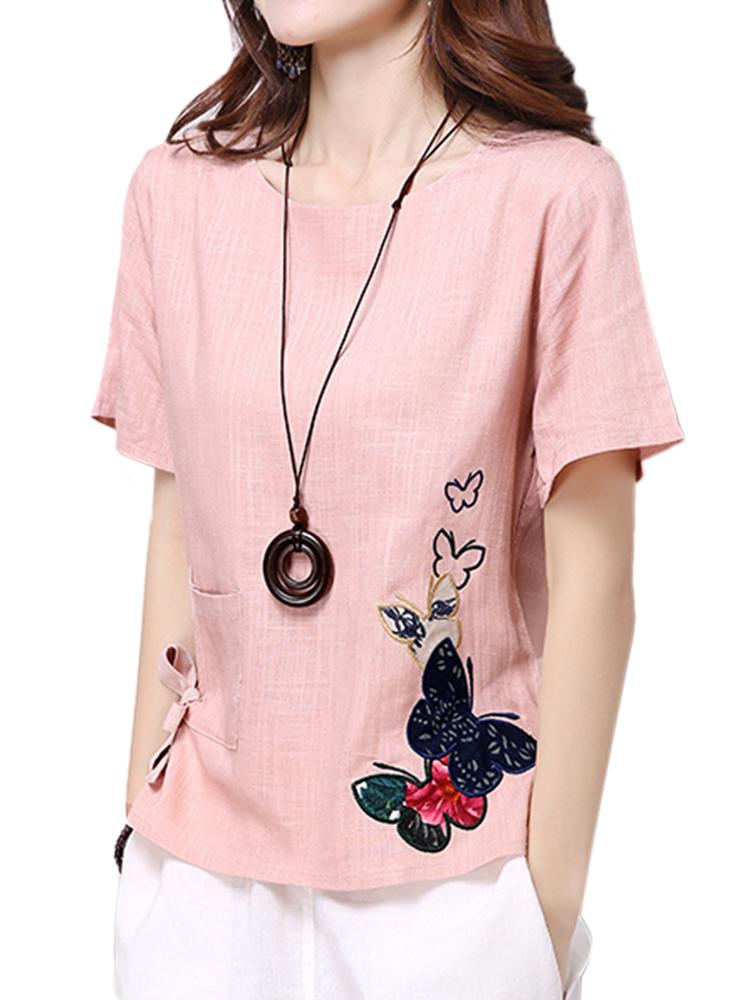 Casual Women Short Sleeve Bow Embroidery Cotton Linen T-shirt