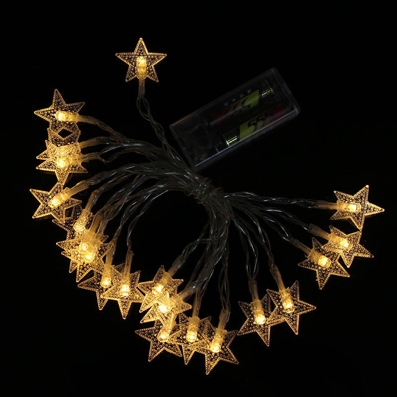 Battery Powered 3M Warm White Star Shaped Fairy String Light for Christmas Patio