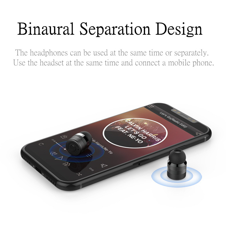 [Truly Wireless] 2 In 1 Mini Dual bluetooth Earphone Metal HIFI Bass Power Bank With Charging Case
