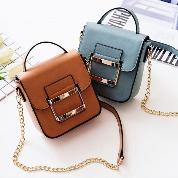 Women PU Leather Casual Vintage Hasp Hardware Chain Strap Mini Shoulder Bag Crossbody Bag