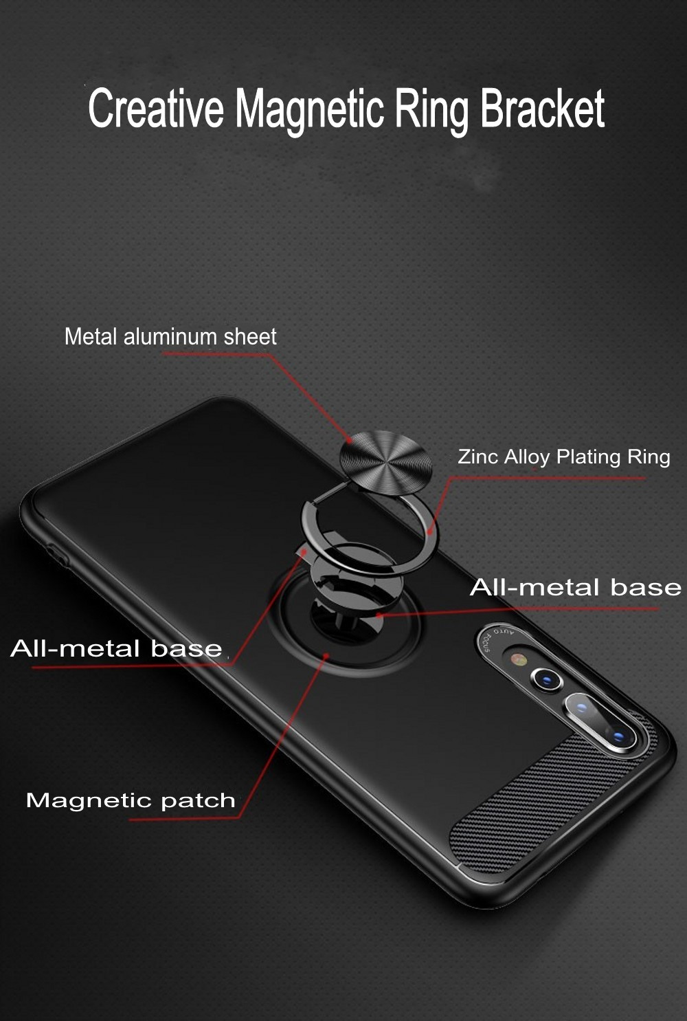 Bakeey 360° Adjustable Metal Ring Magnetic PC Protective Case for Huawei P20 / P20 Lite / P20 Pro