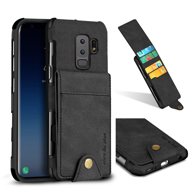 SHS Linen Pattern Multi-card Slot Protective Case for Samsung Galaxy S9 Plus