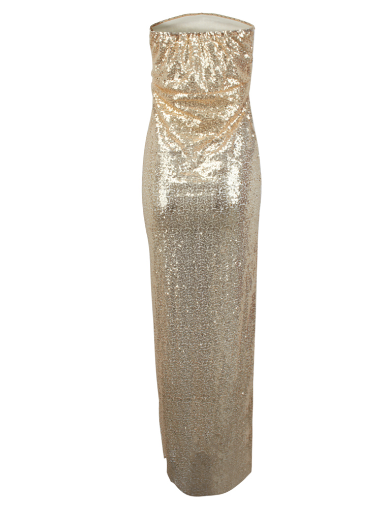 Sexy Slim Sequins Strapless Slit Maxi Party Dress For Women