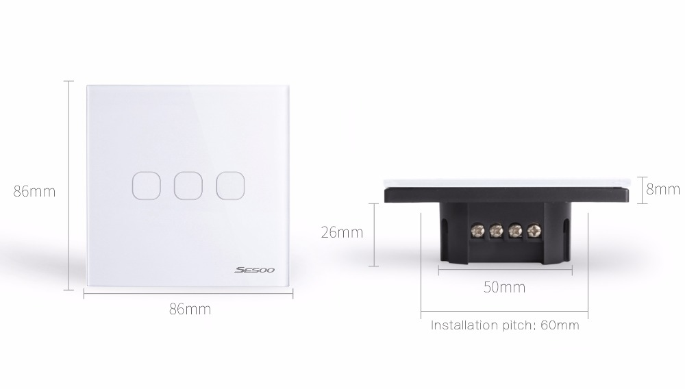 SESOO SY6-03-X EU/UK Standard 3 Gang 1 Way Glass Panel Touch Switch Wireless Remote Control Switch Wall Switches For Smart Home Support Broadlink RM Pro