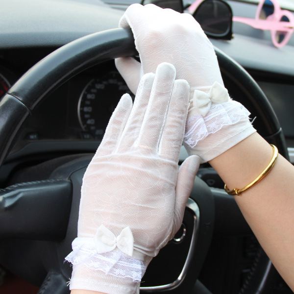 Anti-UV Driving Riding Summer Touch Screen Women Lace Silk Full Finger Glove