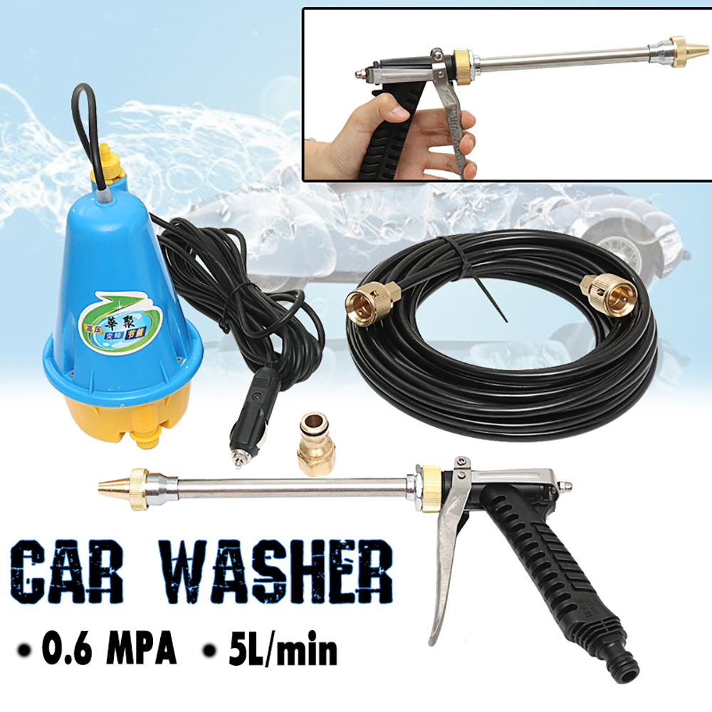 80W 12V Portable High Pressure Washing Machine Electric Washer Clean Gun Submersible Pump