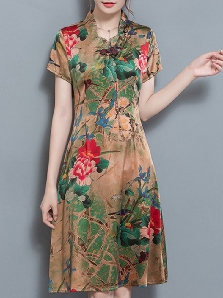 Elegant Floral Print Short Sleeve Dress