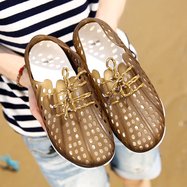 Men Hole Lace Up Sandals Beach Slipper Shoes