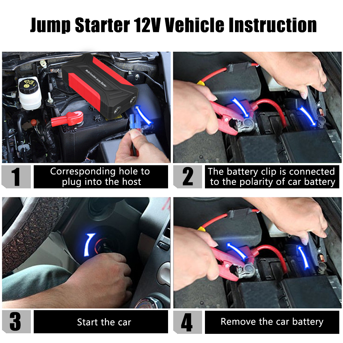 12V 15000mAh Portable Car Jump Starter Pack Booster Charger Battery Power Bank