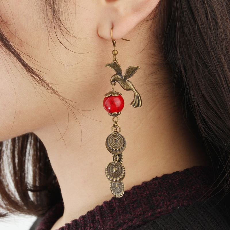 Vintage Red Turquoise Bird Ear Drop Bronze Earrings