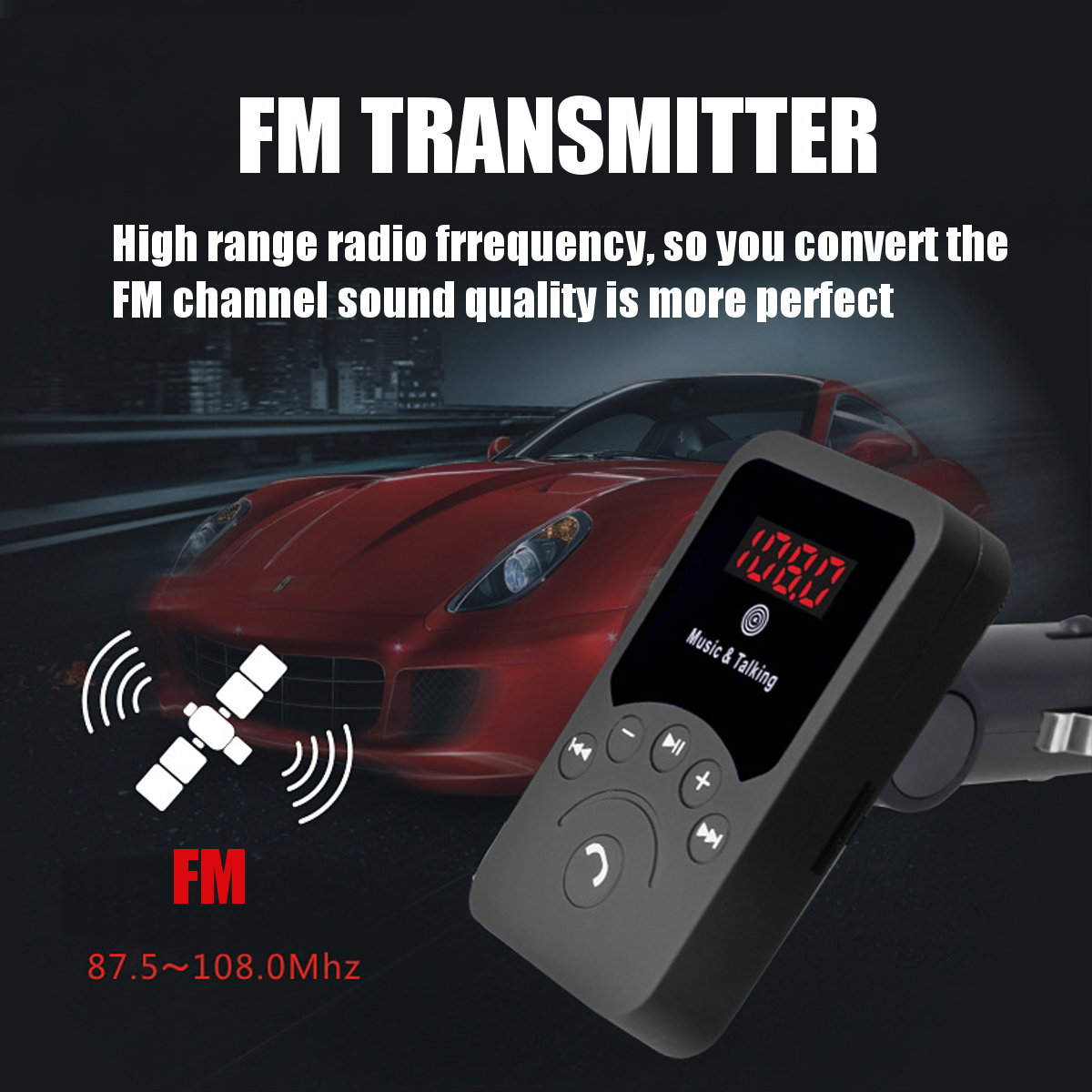 Wireless bluetooth FM Transmitter Radio Car Kit MP3 Music Player USB Charger TF