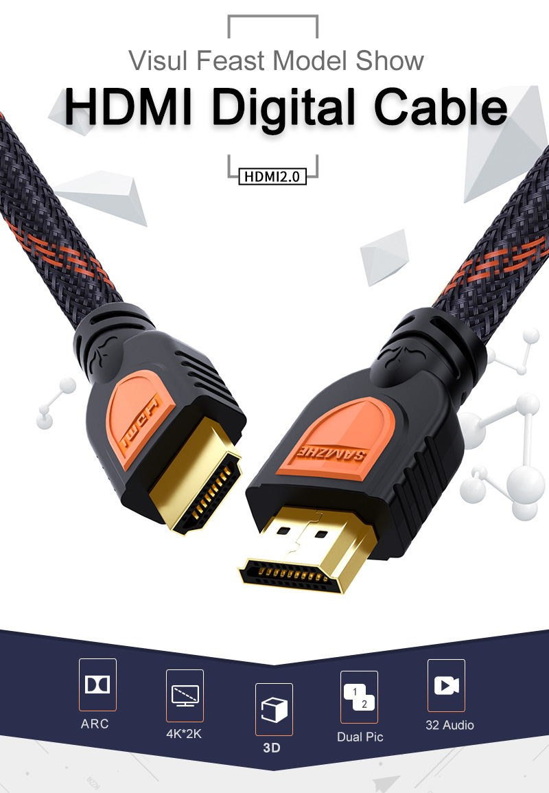 SAMZHE HDMI to HDMI 2.0 Cable HDR 4K 3D Support for laptop TV LCD Laptop PS3 Projector Computer Cable Video Cable