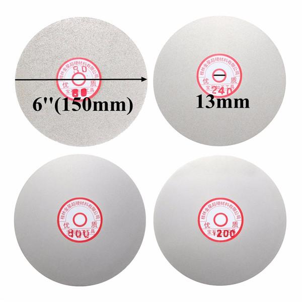 4pcs 6 Inch Diamond Coated Flat Lap Wheel 150mm 80/240/800/120 Grit Grinding Polishing Wheel