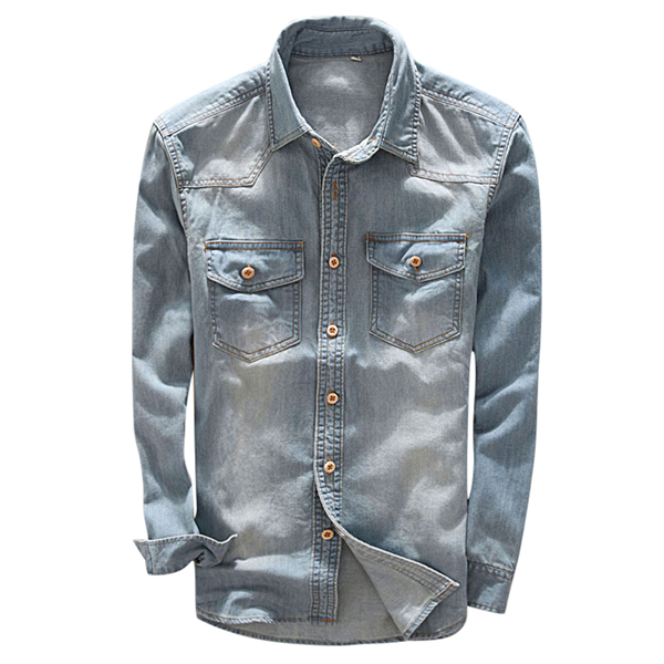 Mens Slim Fit Turn Down Collar Cotton Casual Denim Shirts