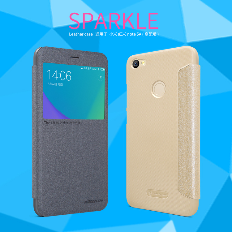 NILLKIN Sparkle PU Leather Case Window Smart Sleep Flip Cover For Xiaomi Redmi Note 5A Prime