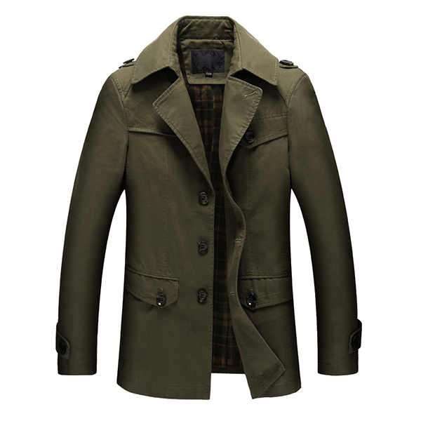 Mens Turn-down Collar Military Outdoor Jacket Casual Cargo Trend Coat Cotton Windbreaker