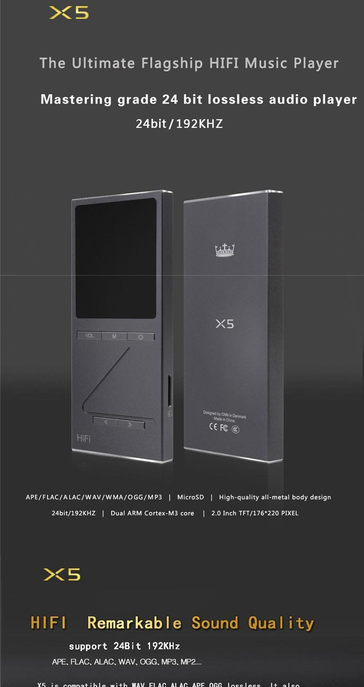 ONN X5 Professional Lossless Music 8GB MP3 HIFI Music Player with 2 Inch TFT Screen