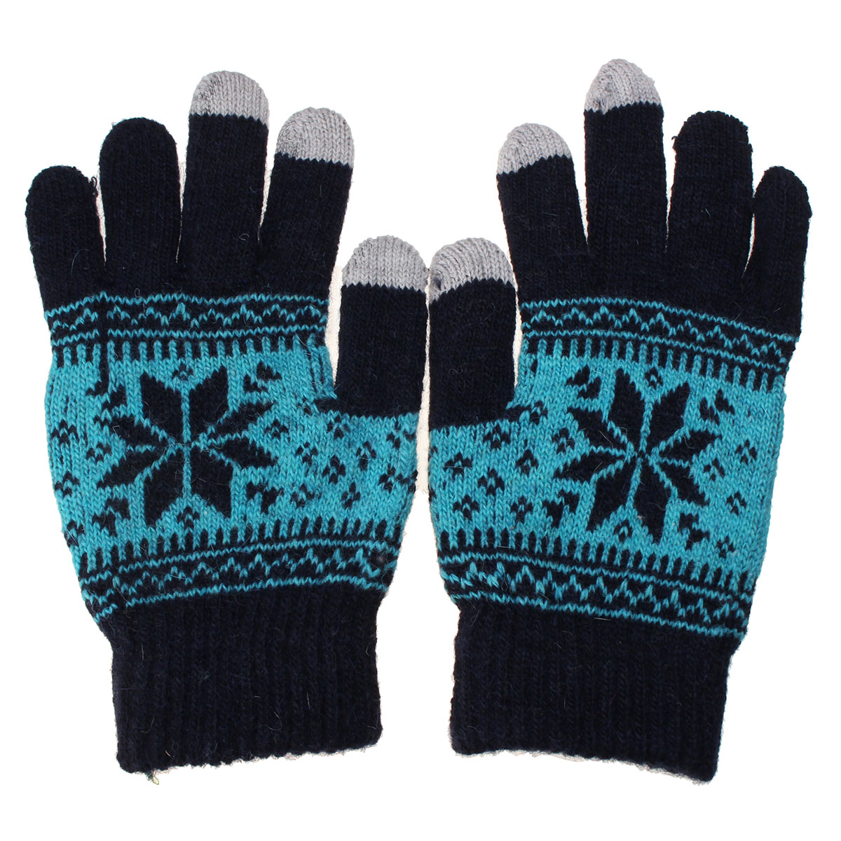 Unisex Men Women Knitted Snowflake Smartphone Touch Screen Gloves Full Finger Mittens