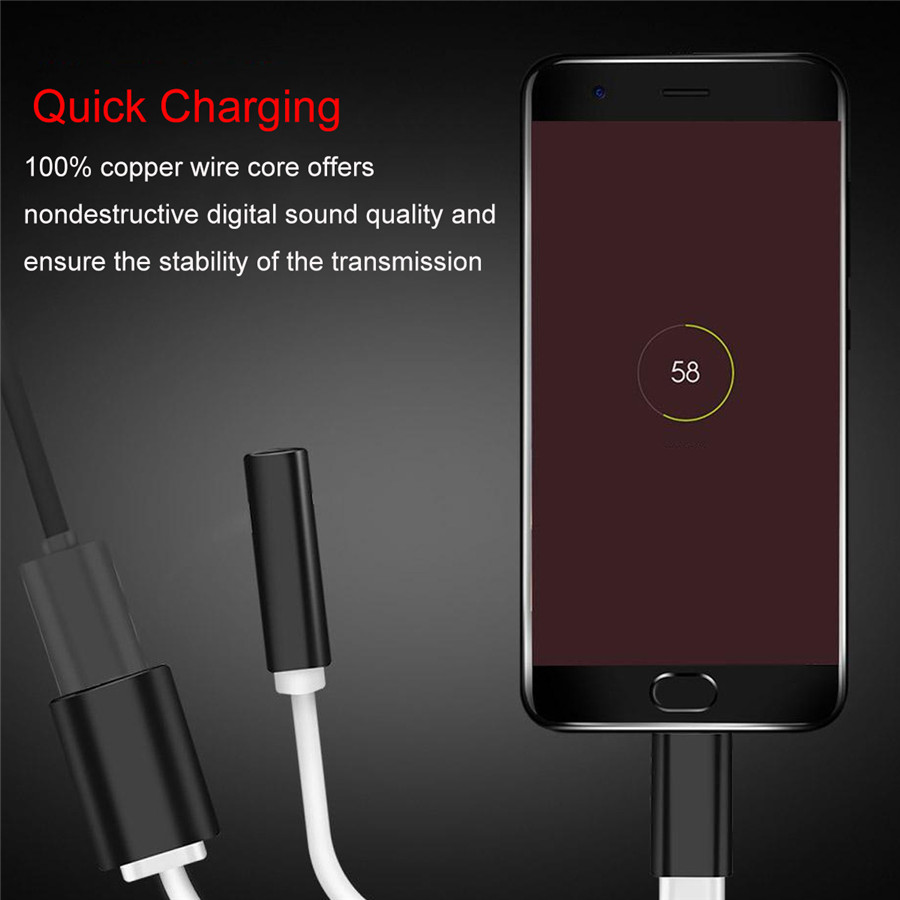 2 in 1 Type C 3.5mm Cellphone Tablet Cable Audio Jack Headphone Adapter