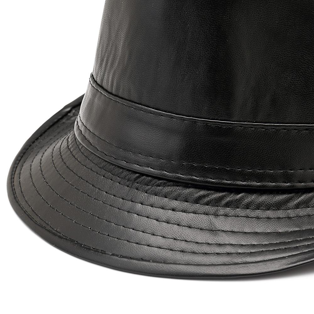 Men Women PU Leather Plain Weave Crimping Brim Jazz Top Hat