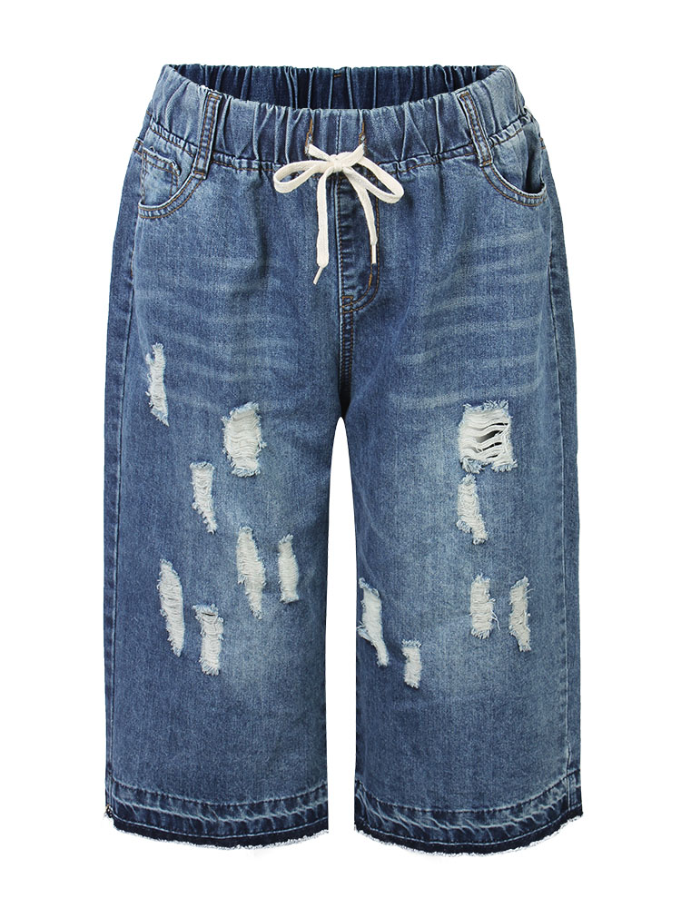 Causal Women Drawstring Ripped Straight Cropped Denim Jeans
