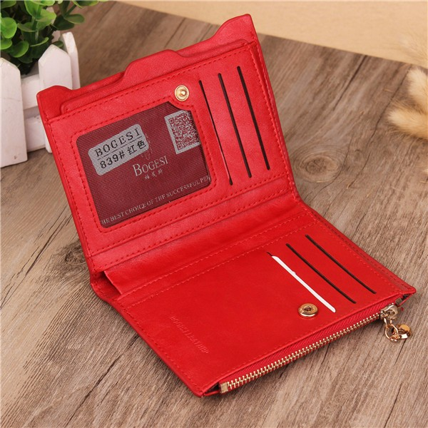 Women Genuine Leather Wallet Small Zipper Pu Leather Coin Card Holder Purse