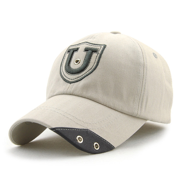 Unisex Cotton U Letter Embroidery Punching Hole Baseball Cap Adjustable Snapback Hat For Men Women