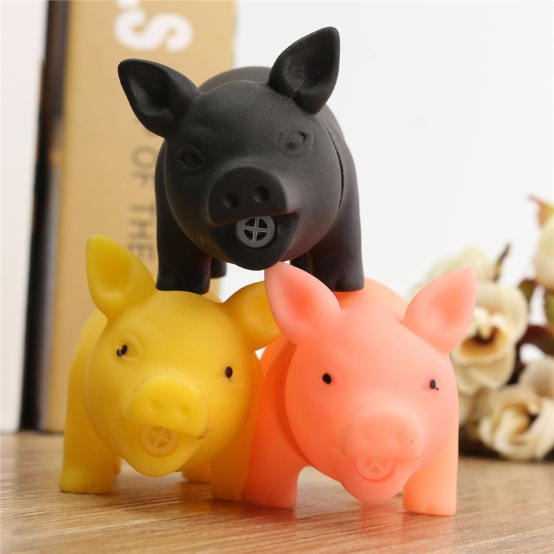 Rubber Pet Dog Puppy Pig Shape Chew Fetch Play Toy Squeaker Squeaky With Sound Novelties Toys