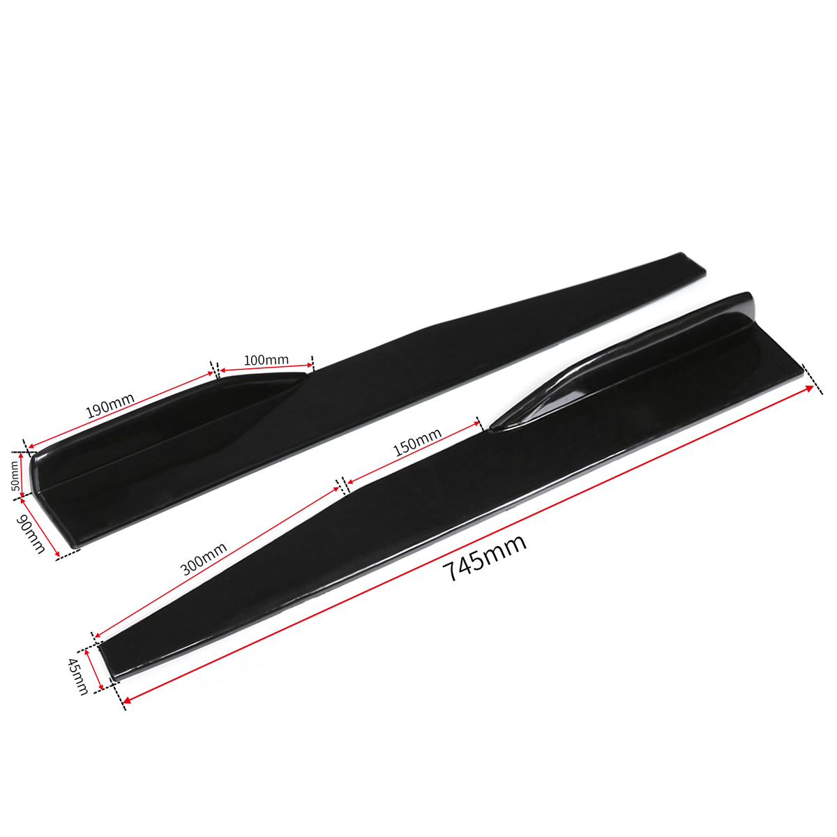Black Car Side Skirt Door Edge Protector Winglet Wings Canard Diffuser Modified Universal
