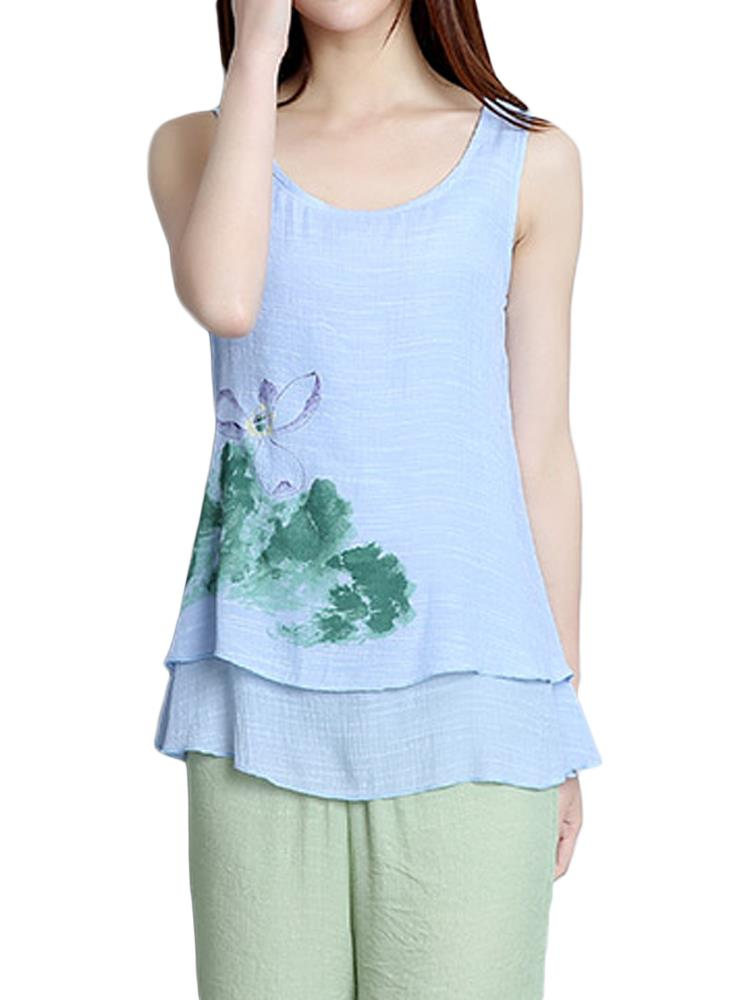 Elegant Women Lotus Ink Printing Fake Two-piece Cotton Linen Tank Top
