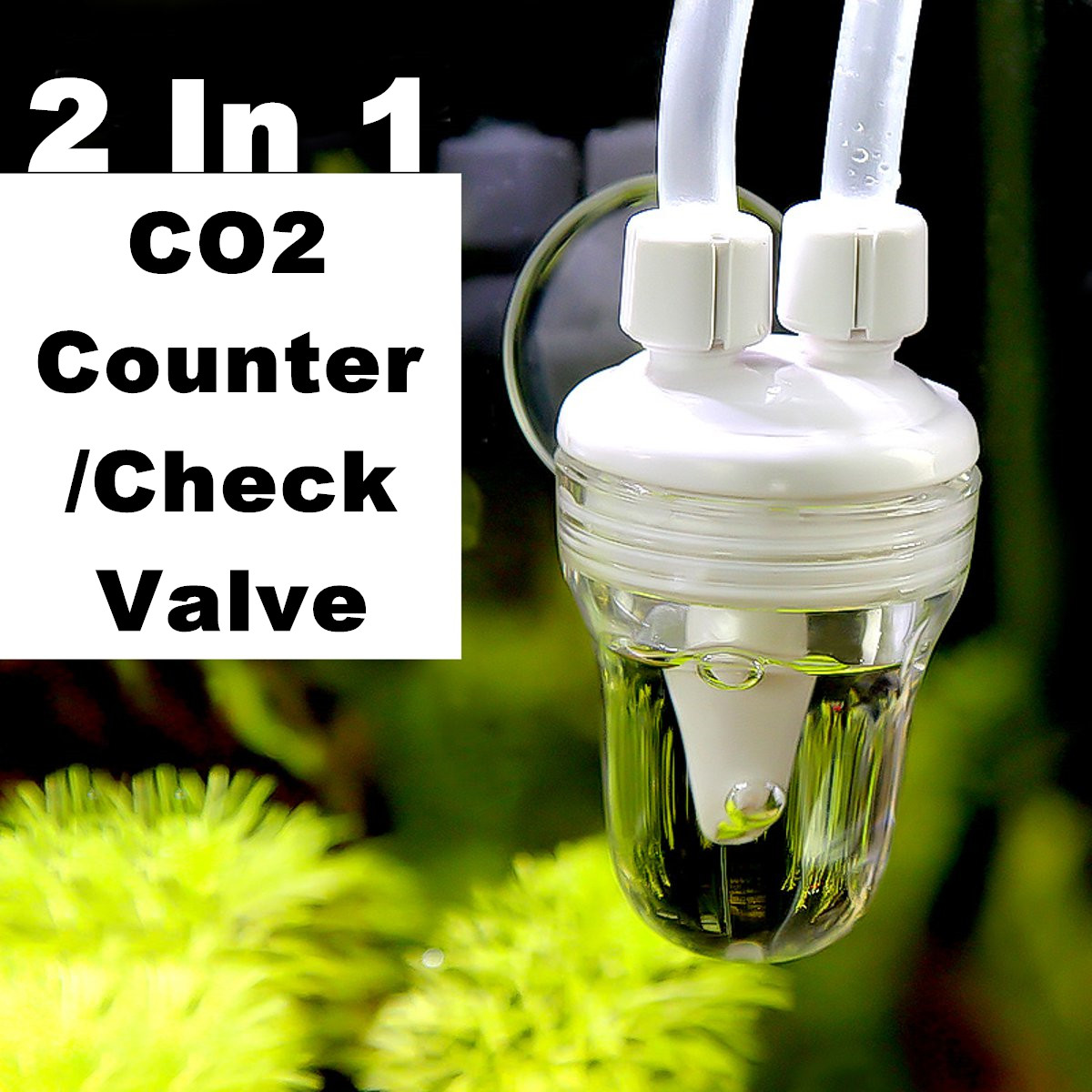 2 In 1 Aquarium Air CO2 Bubble Flow Counter Fish Tank Water Planted Safe Check Valve