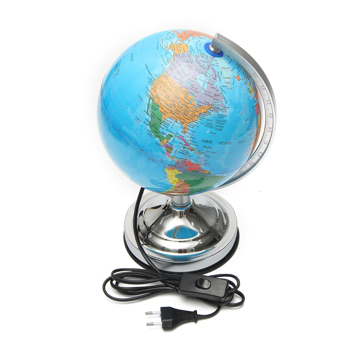 Electronic Illuminated Blue Ocean World Earth Globe Rotating Night Light Desktop Decoration