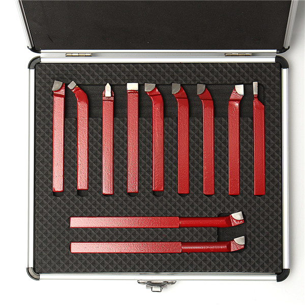 11Pcs Carbide Tip Tipped Cutter Turning Tool Set for Metal Lathe Cutting Tool