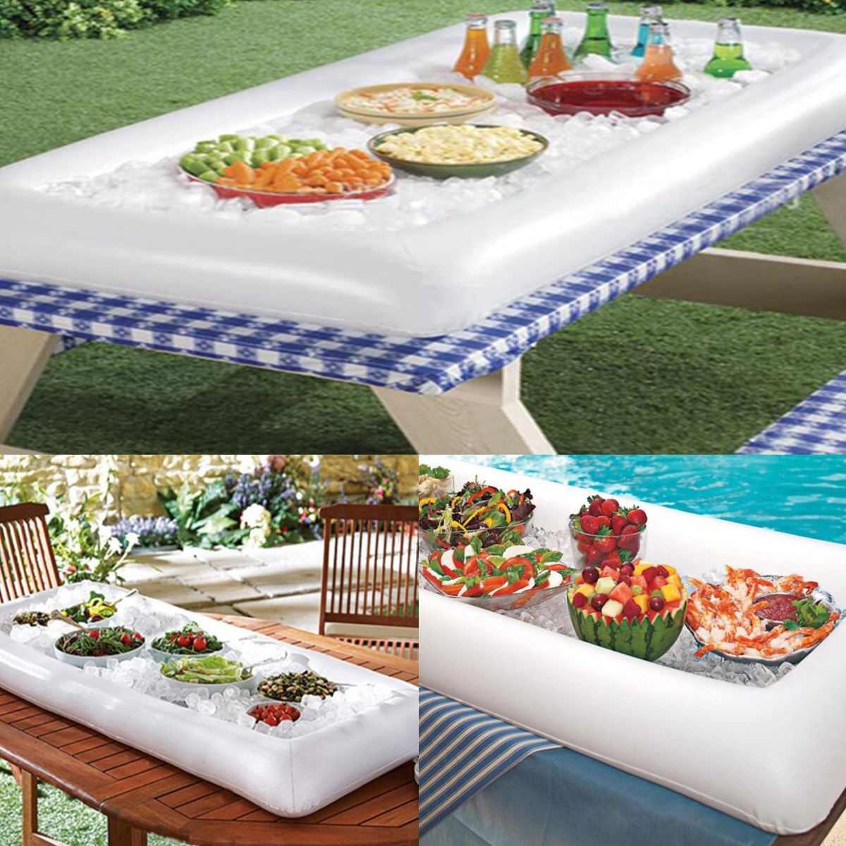 PVC Inflatable Pool Beer Table Dining Food Serving Pad Outdoor Ice Mat Water Party Play