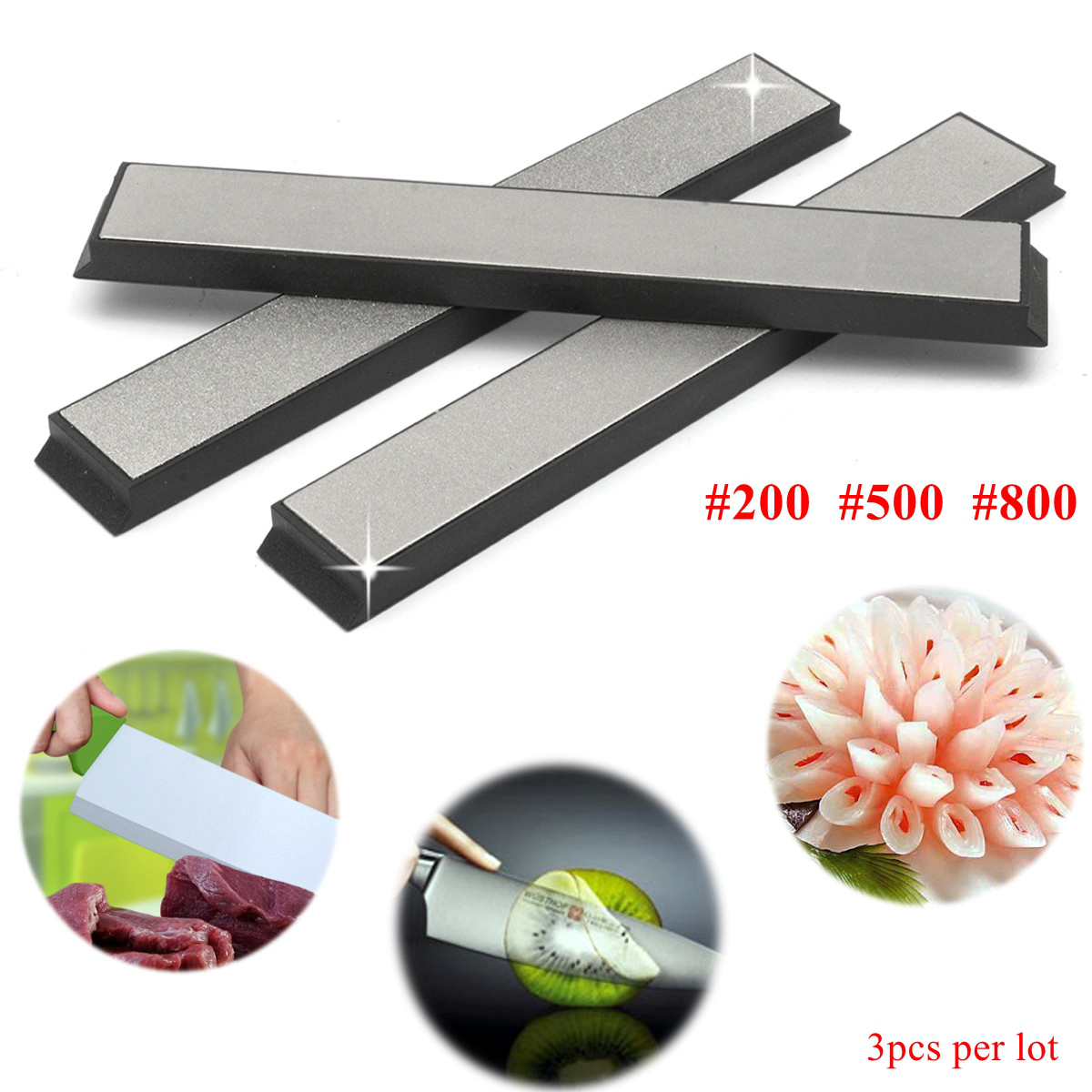3pcs 200/500/800 Grit Knife Sharpener Knife Sharpening Stone Edge Diamond Whetstone with Base