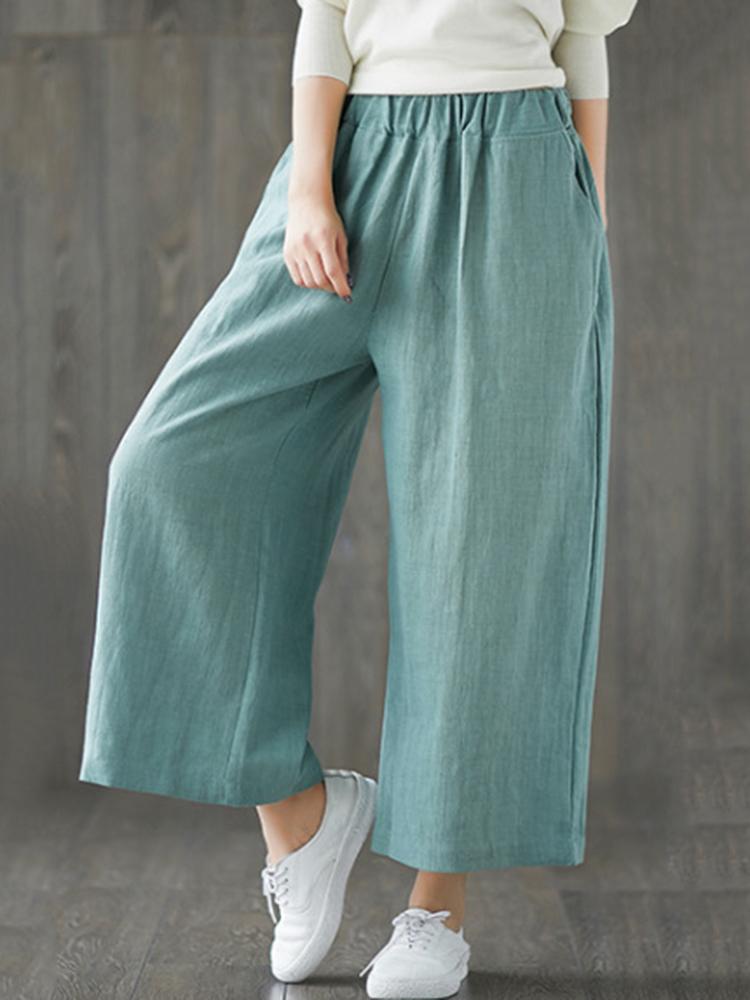 Women Pure Color Elastic Waist Wide Leg Pants