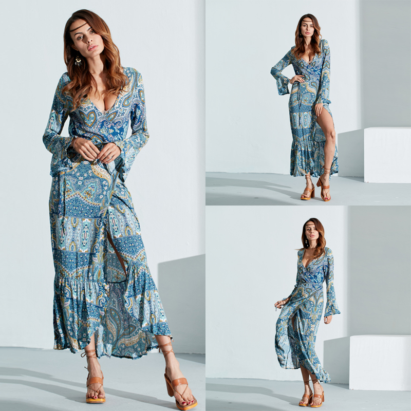 Floral Irregular V-Neck Bell Sleeve Long Dress