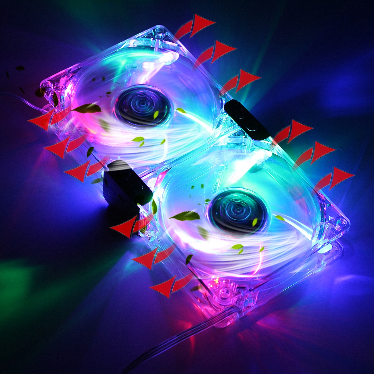80mm 12V 15dBA PC Cooler LED Graphics Card Cooler Mute Cooling Fan VGA Mate 1400RPM Fan