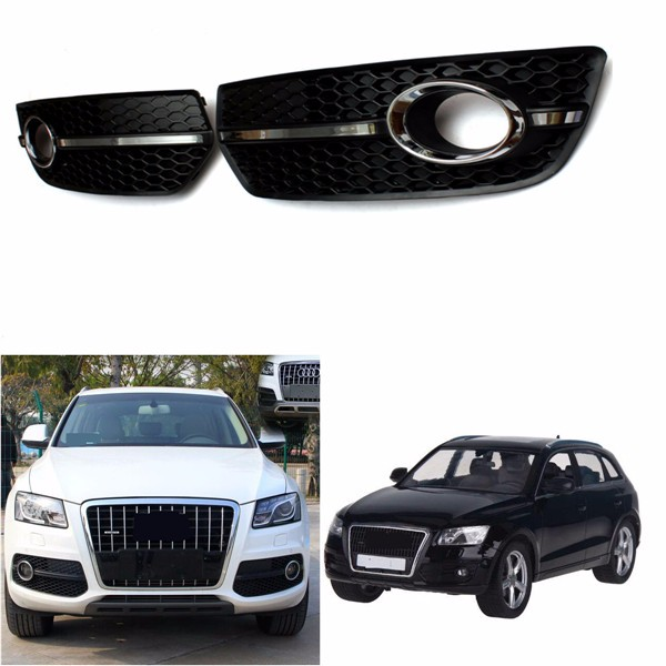 Fog Light Cover S Line Grill Black ABS Plastic and Chrome for VW Audi Q5 2009-2011