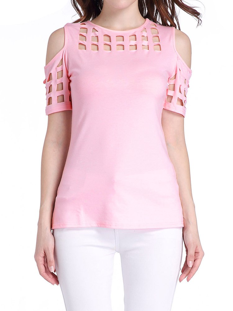 Casual Women Pure Color Hollow Out Short Sleeve T-shirts