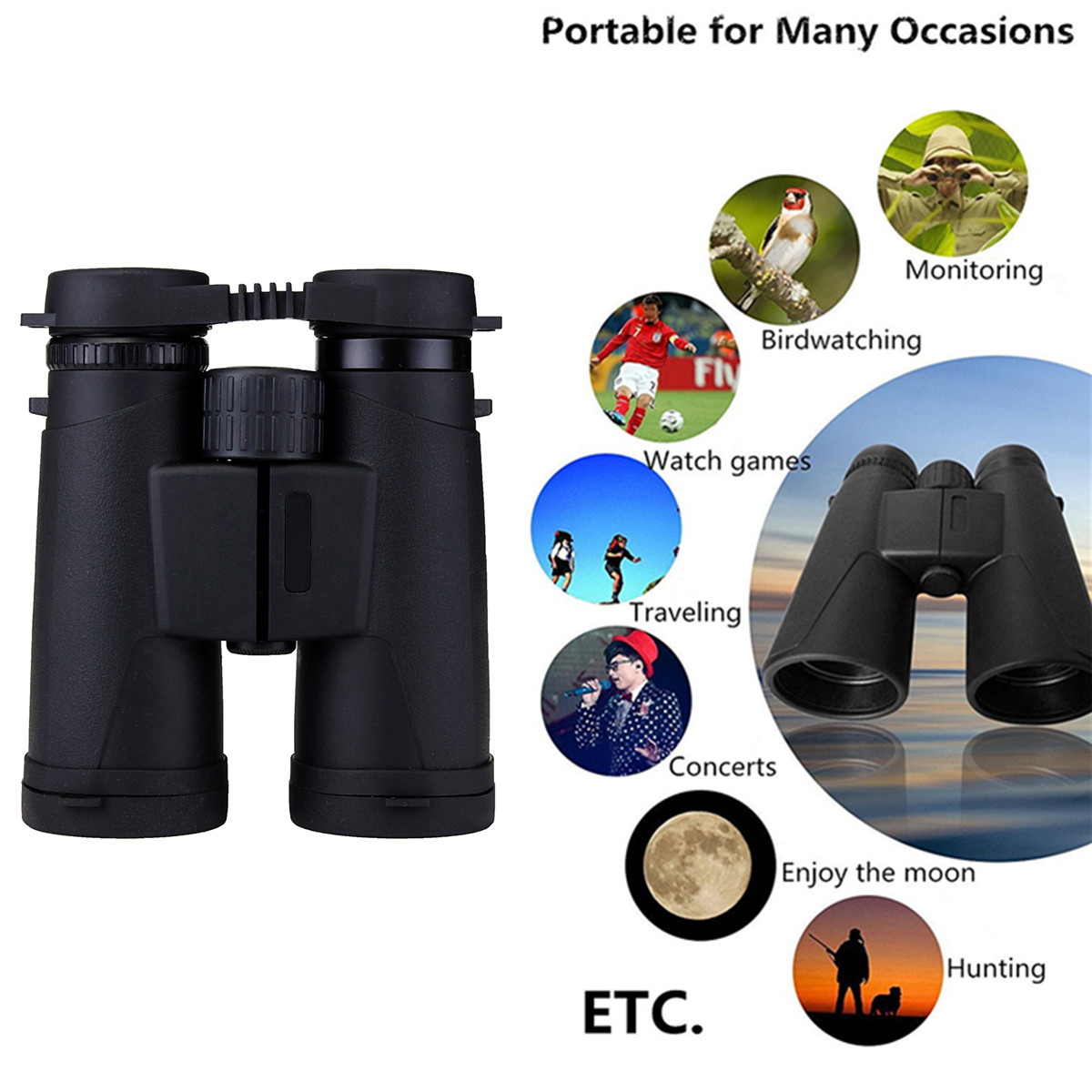 10X 42mm Waterproof Roof Prism Zoom Binoculars Telescope HD for Mobile Phone
