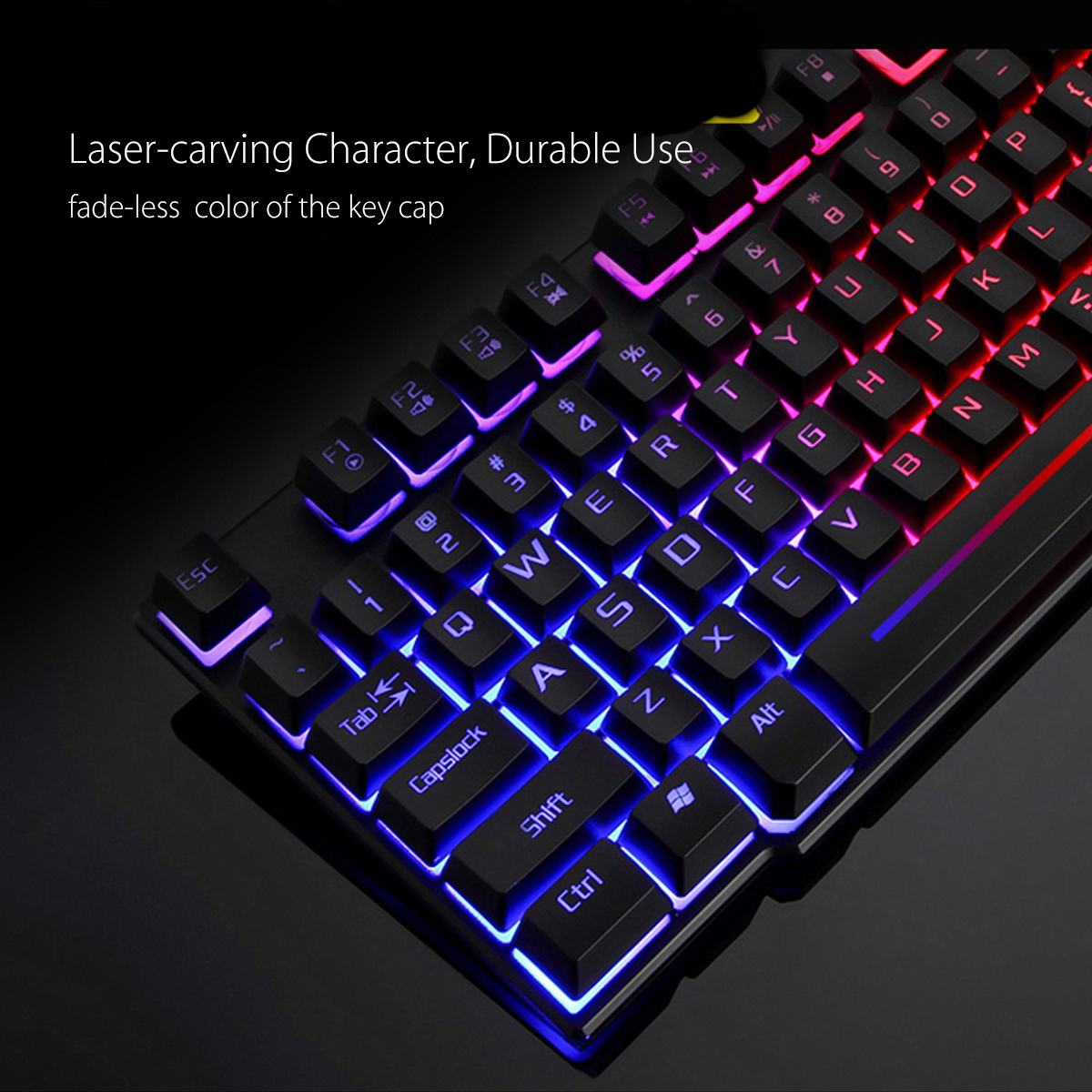 Colorful Backlight USB Wired Gaming Keyboard 2400DPI LED Gaming Mouse Combo with Mouse Pad