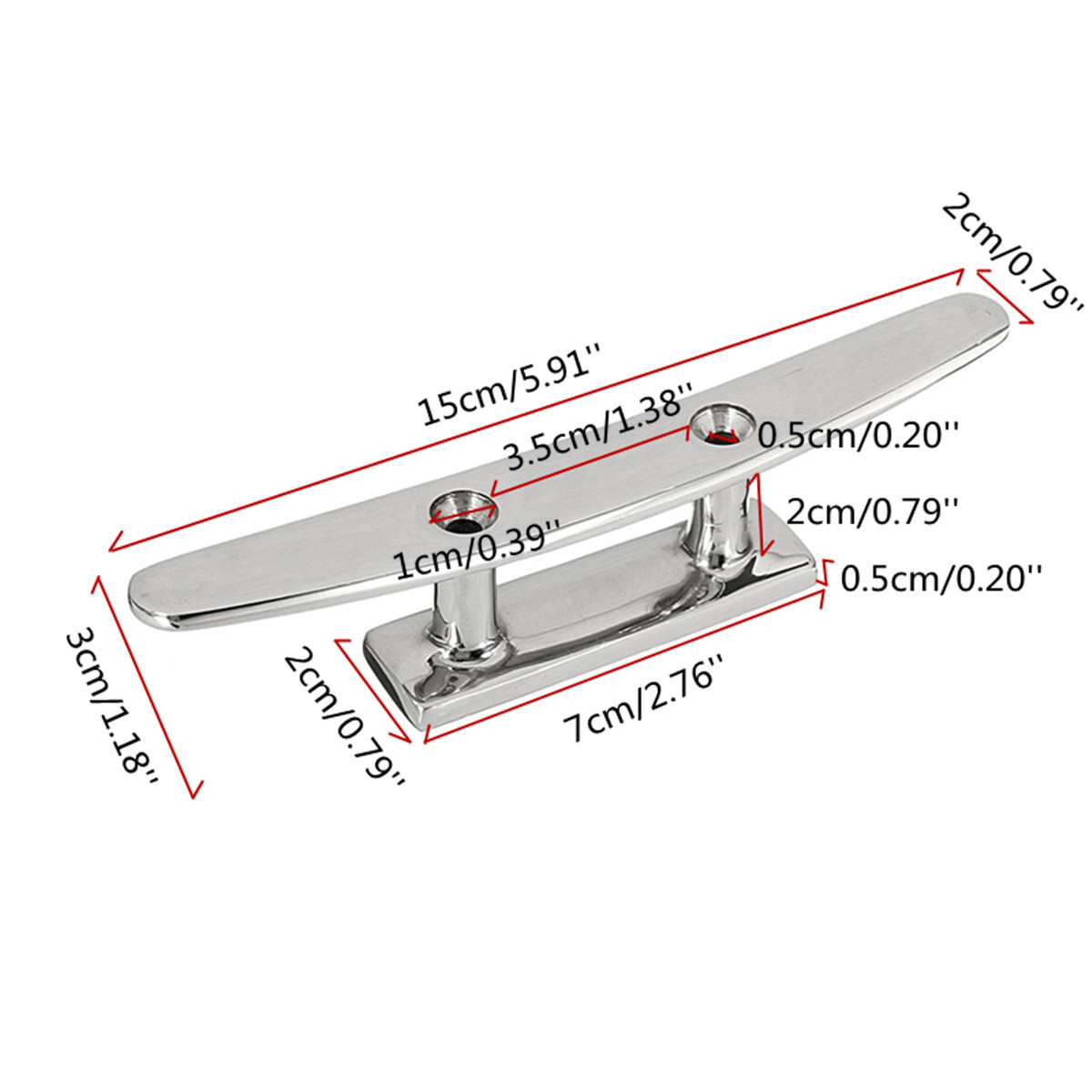 2Pcs 6 Inch Stainless Steel Flat Top Low Boat Deck Cleat Marine Grade Hardware
