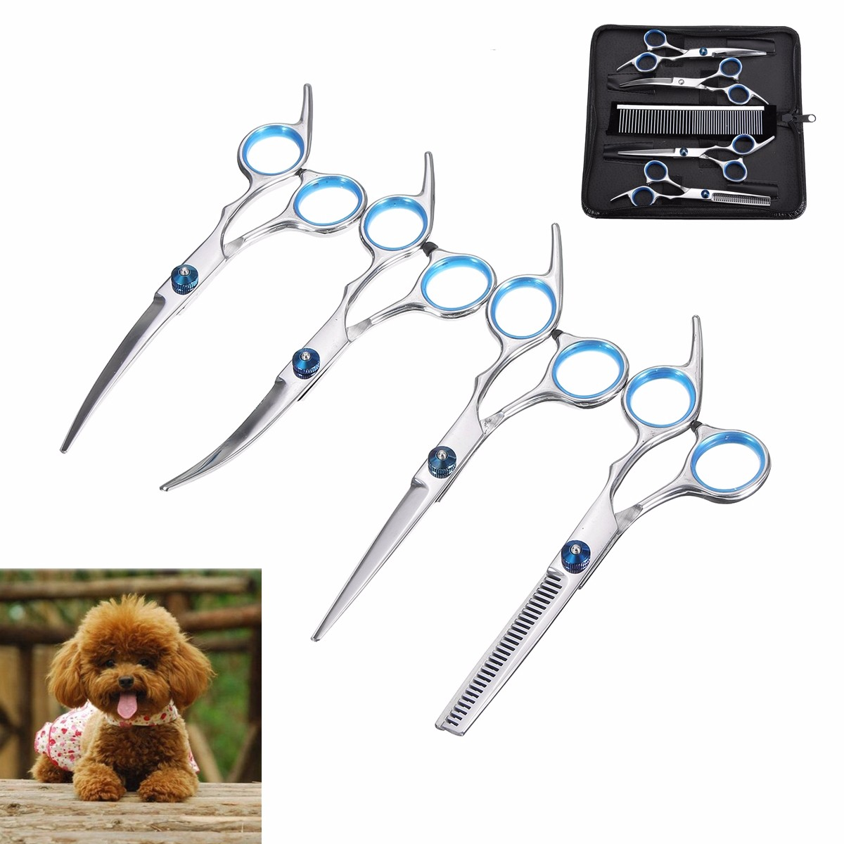7Pcs/Lot Dog Cat Grooming Scissors Set Straight Curved Cutting Thinning Shears Kit Puppy Hair Trimmer Pet Beauty