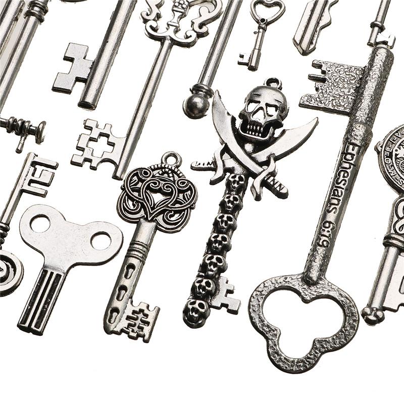 45 pcs Vintage Ornate Skeleton Keys Lot Pendant Fancy Heart DIY Crafts