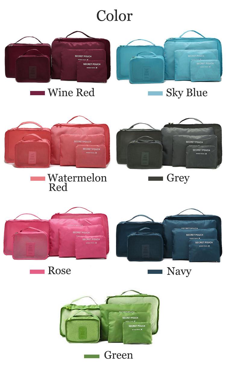 Honana Hn Tb8 6pcs Waterproof Travel Storage Bags Packing Cube The 6 In 1 Secret Pouch Bag Organiser Bgo 15 Clothes Luggage Organizer