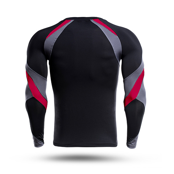 Mens Tight Fitness Fast Dry T-shirt Casual Long Sleeved Training Running Sports T-shirt